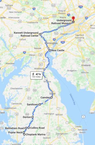 Map: Poplar Neck to Philadelphia